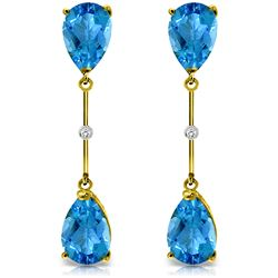 ALARRI 7.01 Carat 14K Solid Gold Diamond Blue Topaz Dangling Earrings