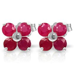 ALARRI 1.15 Carat 14K Solid White Gold Steps Forward Ruby Earrings
