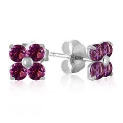 ALARRI 1.15 Carat 14K Solid White Gold Purple Splash Amethyst Earrings