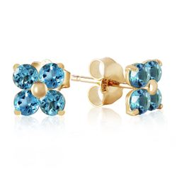 ALARRI 1.15 CTW 14K Solid Gold Stud Earrings Blue Topaz