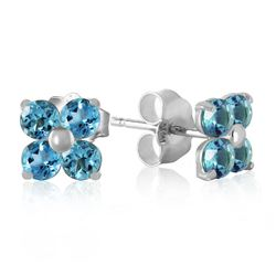 ALARRI 1.15 Carat 14K Solid White Gold Stud Earrings Blue Topaz