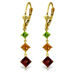 ALARRI 4.8 CTW 14K Solid Gold Chandelier Earrings Peridot, Citrine Garnet