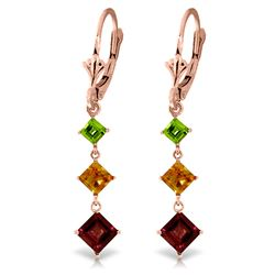 ALARRI 4.8 CTW 14K Solid Rose Gold Chandelier Earrings Peridot, Citrine Garnet