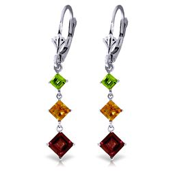 ALARRI 4.8 CTW 14K Solid White Gold Chandelier Earrings Peridot, Citrine Garnet