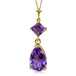 ALARRI 2 CTW 14K Solid Gold Only One Amethyst Necklace