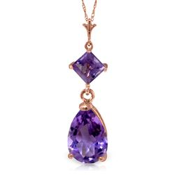 ALARRI 2 Carat 14K Solid Rose Gold Laughter Amethyst Necklace