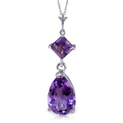 ALARRI 2 Carat 14K Solid White Gold Continuous Line Amethyst Necklace