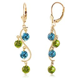 ALARRI 4.94 Carat 14K Solid Gold Chandelier Earrings Blue Topaz Peridot