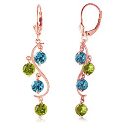 ALARRI 4.94 Carat 14K Solid Rose Gold Chandelier Earrings Blue Topaz Peridot