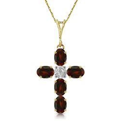 ALARRI 1.88 Carat 14K Solid Gold Cross Necklace Natural Diamond Garnet