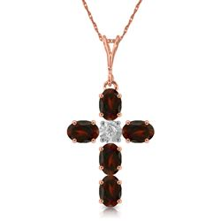 ALARRI 1.88 CTW 14K Solid Rose Gold Cross Necklace Natural Diamond Garnet