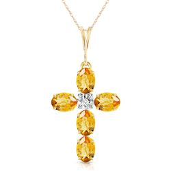 ALARRI 1.88 Carat 14K Solid Gold Cross Necklace Natural Diamond Citrine