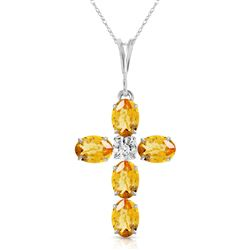 ALARRI 1.88 Carat 14K Solid White Gold Cross Necklace Natural Diamond Citrine