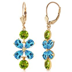 ALARRI 5.32 Carat 14K Solid Gold Petals Blue Topaz Peridot Earrings