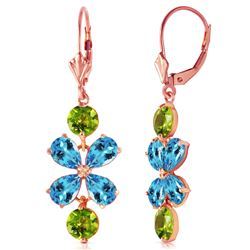 ALARRI 5.32 CTW 14K Solid Rose Gold Flower Blue Topaz Peridot Earrings