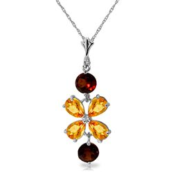 ALARRI 3.15 CTW 14K Solid White Gold Necklace Citrine Garneters