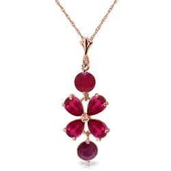 ALARRI 3.15 Carat 14K Solid Rose Gold Petals Ruby Necklace