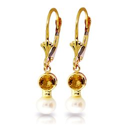 ALARRI 5.2 CTW 14K Solid Gold Leverback Earrings Pearl Citrine