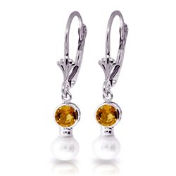 ALARRI 5.2 Carat 14K Solid White Gold Leverback Earrings Pearl Citrine