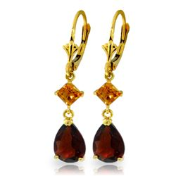ALARRI 4.5 Carat 14K Solid Gold Leverback Earrings Garnet Citrine