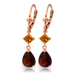 ALARRI 4.5 CTW 14K Solid Rose Gold Leverback Earrings Garnet Citrine