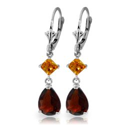 ALARRI 4.5 CTW 14K Solid White Gold Leverback Earrings Garnet Citrine