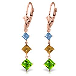 ALARRI 4.8 Carat 14K Solid Rose Gold Chandelier Earrings Blue Topaz, Citrine Peridot