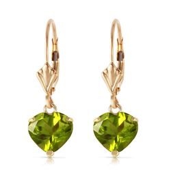 ALARRI 3.25 CTW 14K Solid Gold Leverback Earrings Natural Peridot