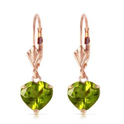ALARRI 3.25 Carat 14K Solid Rose Gold Leverback Earrings Natural Peridot