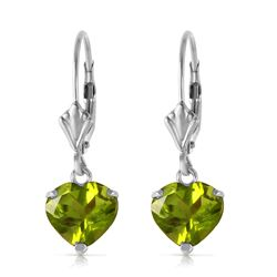 ALARRI 3.25 Carat 14K Solid White Gold Leverback Earrings Natural Peridot