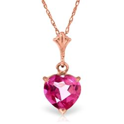 ALARRI 1.15 Carat 14K Solid Rose Gold Proud Heart Pink Topaz Necklace