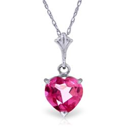 ALARRI 1.15 Carat 14K Solid White Gold Complelling Pink Topaz Necklace