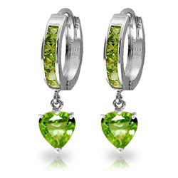 ALARRI 4.1 CTW 14K Solid White Gold Apart From Others Peridot Earrings
