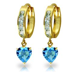 ALARRI 4.1 Carat 14K Solid Gold Sicily Blue Topaz Earrings