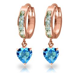 ALARRI 4.1 CTW 14K Solid Rose Gold Hoop Blue Topaz Heart Drop Earrings