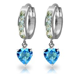 ALARRI 4.1 Carat 14K Solid White Gold Not Distressed Damsel Blue Topaz Earrings