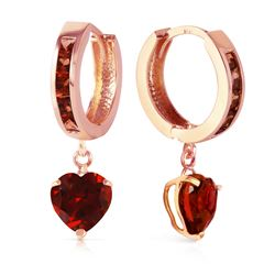 ALARRI 4.1 Carat 14K Solid Rose Gold Hoop Garnet Heart Drop Earrings