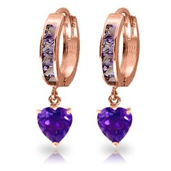 ALARRI 4.1 CTW 14K Solid Rose Gold Hoop Amethyst Heartdrop Earrings