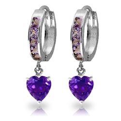 ALARRI 4.1 Carat 14K Solid White Gold Tongue In Cheek Amethyst Earrings