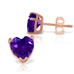 ALARRI 3.25 Carat 14K Solid Rose Gold Divinity Amethyst Stud Earrings