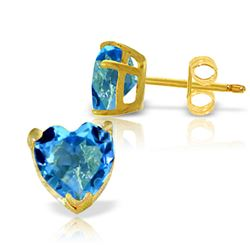 ALARRI 3.25 CTW 14K Solid Gold East Of Eternity Blue Topaz Earrings