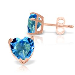 ALARRI 3.25 CTW 14K Solid Rose Gold Divinity Blue Topaz Stud Earrings