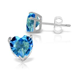 ALARRI 3.25 CTW 14K Solid White Gold Footsteps At Night Blue Topaz Earrings
