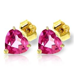 ALARRI 3.25 Carat 14K Solid Gold Stud Earrings Natural Pink Topaz
