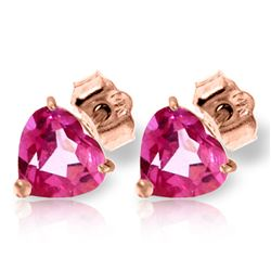 ALARRI 3.25 CTW 14K Solid Rose Gold Stud Earrings Natural Pink Topaz