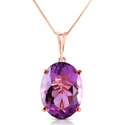 ALARRI 14K Solid Rose Gold Necklace w/ Oval Purple Amethyst