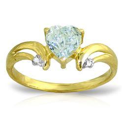 ALARRI 0.96 CTW 14K Solid Gold Jazzonia Aquamarine Diamond Ring