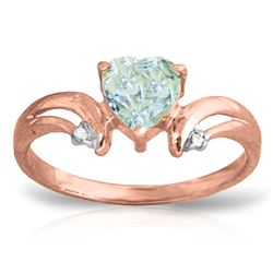 ALARRI 0.96 CTW 14K Solid Rose Gold Heart Aquamarine Diamond Ring
