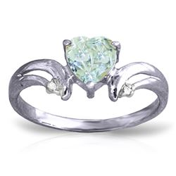 ALARRI 0.96 Carat 14K Solid White Gold I Really Want Aquamarine Diamond Ring