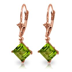 ALARRI 3.2 CTW 14K Solid Rose Gold Peridot Simplicity Earrings